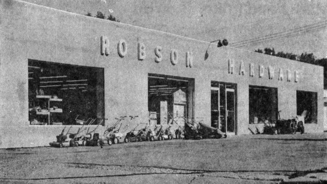 This photo of Robson Hardware was taken in about 1965.
