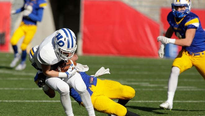 Green Bay Notre Dame senior Vinny Pallini makes a catch against Waukesha Catholic Memorial at Camp Randall Stadium in Madison during the WIAA Division 3 state championship game on Nov. 20. Pallini was one of 26 players selected to compete in one of the WFCA all-star games on July 16.