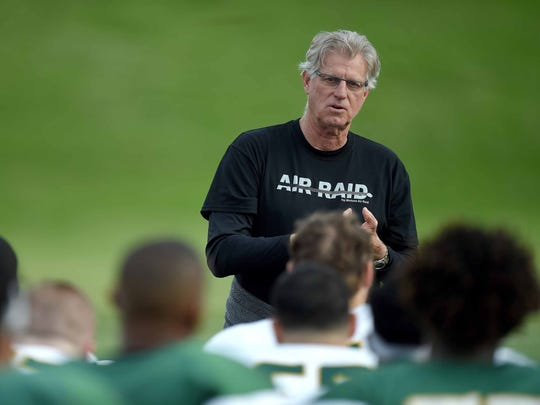 Now in the twilight of his career, Hal Mumme has returned to his small-school roots. He now coaches at Belhaven in Jackson, MIss.