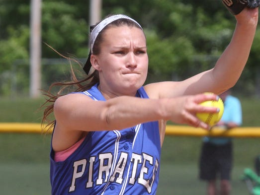Pearl River's Mandy McCarthy delivers a pitch during a Class A regional softball semifinal with Maine-Endwell at North Rockland June 6, 2014. Pearl River won 6-5.