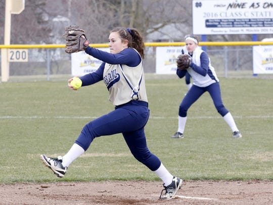 Izzy Milazzo delivers a pitch for Elmira Notre Dame during a 15-0 home win over Newfield this year.