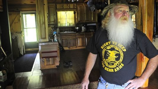 """Mark """"Coonrippy"""" Brown ran for governor, in part motivated by the state's seizure of his pet raccoon """"Rebekah."""" Thursday May 1, 2014, in Nashville, TN."""