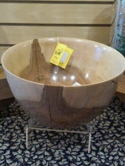 Shown is a bowl created by Glen Rock artist Charlie Saulenas, an example of the kind of pieces on display from the Depot at the library.