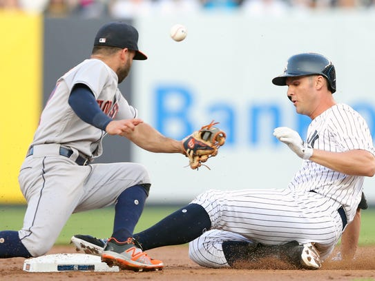 New York Yankees first baseman Greg Bird (33) slides