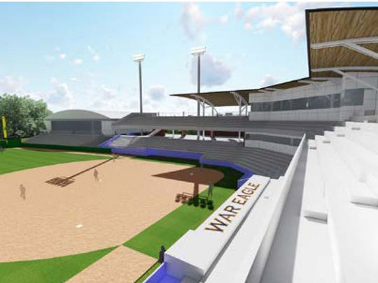 The $4 million construction down the first base line include an indoor infield and batting nets.