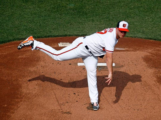Baltimore Orioles starting pitcher Dylan Bundy throws