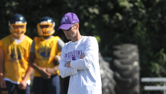 Middletown head coach Lance Engleka watches his players in the 7-v-7 game against Moeller.