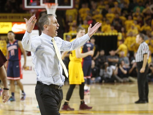 Arizona State head basketball coach Bobby Hurley gets