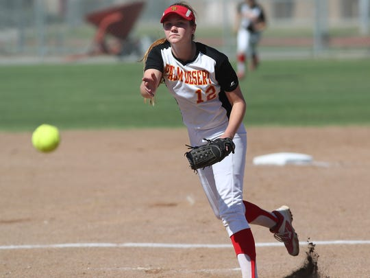Palm Desert pitcher Carlie Williams pitches against St. Paul, May 22, 2018.
