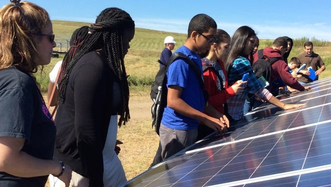 Students at Rockland BOCES Hudson Valley P-TECH  academy learn about solar panels