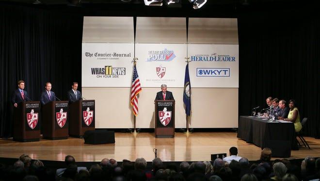The Bluegrass Poll Debate at Bellarmine University includes Kentucky gubernatorial candidates Jack Conway, Drew Curtis and Matt Bevin. Sept. 15, 2015