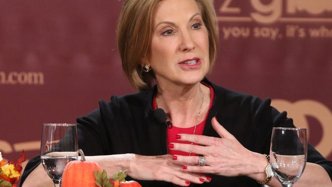 Republican presidential candidate Carly Fiorina speaks at the Presidential Family Forum in Des Moines Friday, Nov. 20, 2015.