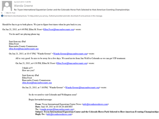 An email between former Buncombe County manager Wanda Greene and Commissioner Ellen Frost show discussions to visit out-of-state sites associated with equestrian mogul Mark Bellissimo.