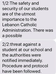 Lebanon Catholic School sent out an alert to parents
