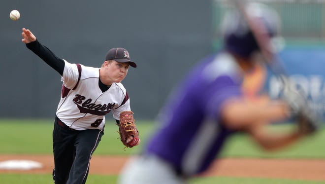 N.E.W. Lutheran's Mitchell Lynch delivers a pitch during Wednesday's WIAA Division 3 state baseball semifinal game against Ithaca at Neuroscience Group Field at Fox Cities Stadium in Grand Chute.