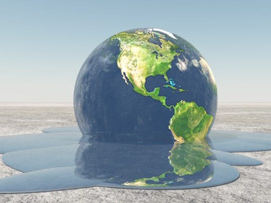 Illustration of earth melting because of global warming.