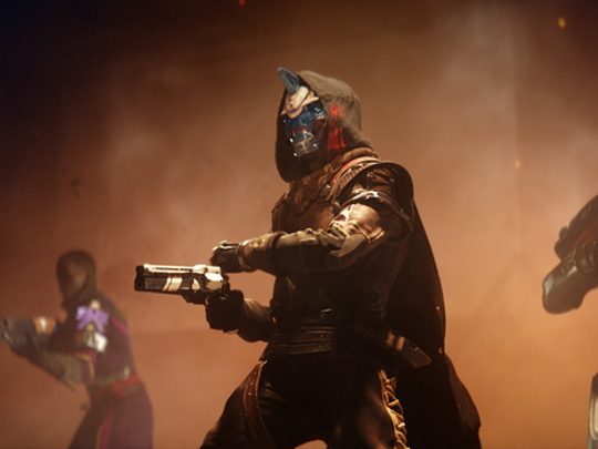 "Three characters from ""Destiny 2"" hold guns."