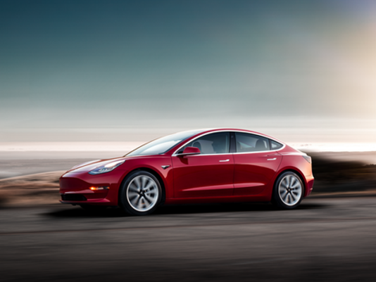 Red Tesla Model 3 Large Png