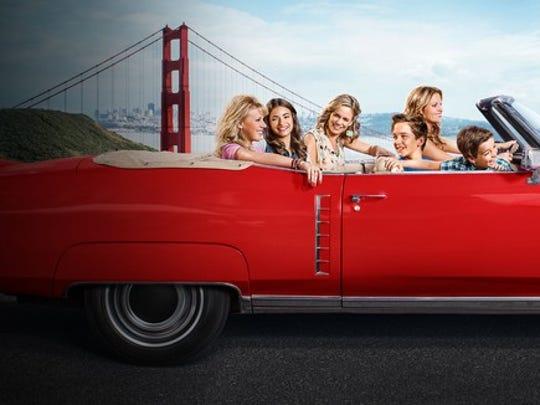 "The cast of ""Fuller House"" drives through San Francisco."