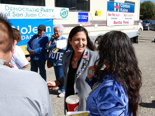 Debra Haaland, chairwoman of the Democratic Party of New Mexico, pays a visit to Shiprock on Friday at the Shiprock Chapter house.