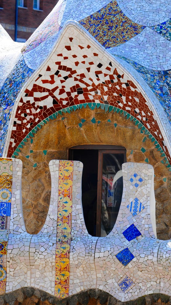 Mosaic detail in Park Guell.