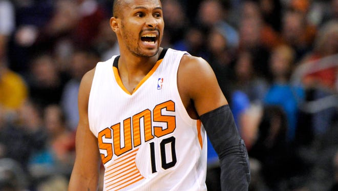 Feb. 8, 2014 - Suns guard Leandro Barbosa reacts to a play in the second quarter against the Golden State Warriors.