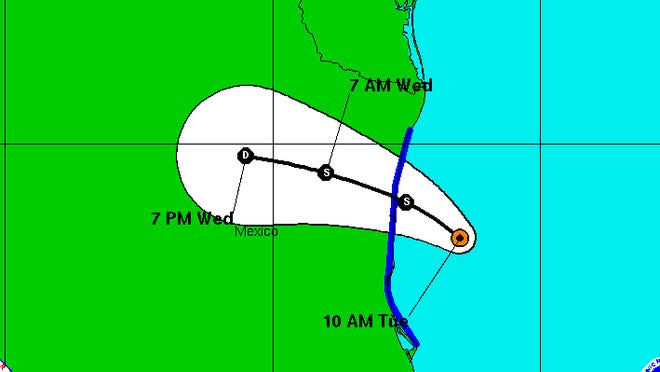 Dolly is forecast to make landfall later Tuesday or early Wednesday along the east coast of Mexico.