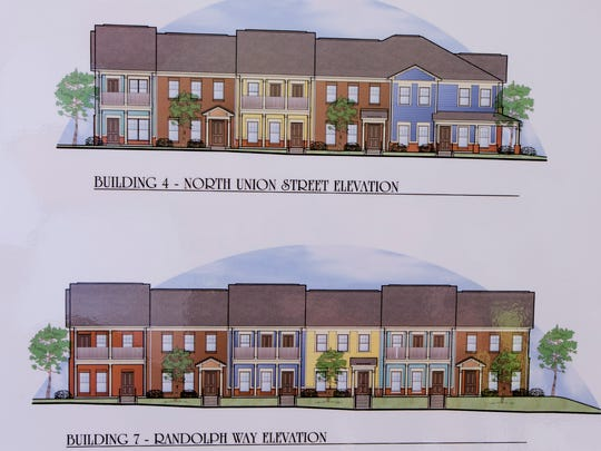 Architectural drawings displayed during the groundbreaking ceremony for Columbus Square in Montgomery, Ala. on Friday September 16, 2016. Columbus Square is located on the site of the former Trenholm Court.