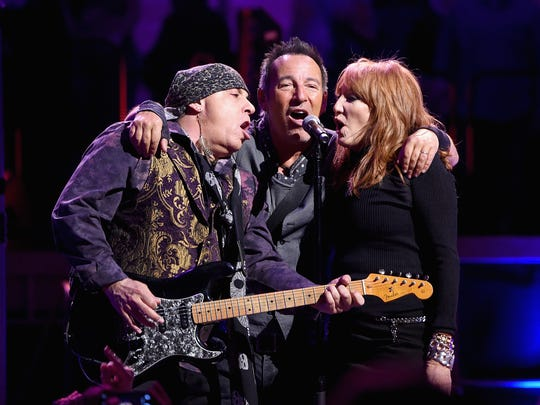 Stevie Van Zandt, Bruce Springsteen and Patti Scialfa perform onstage at Madison Square Garden last year in New York City.