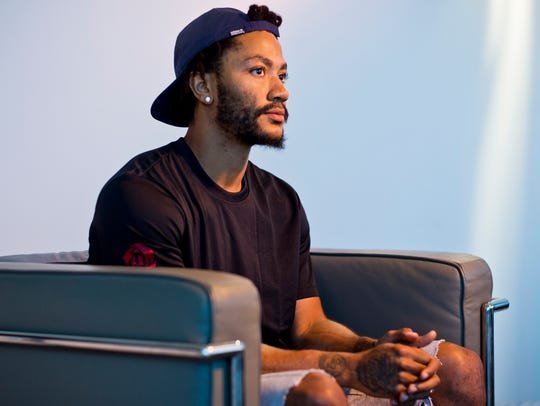 Cleveland Cavaliers point guard Derrick Rose poses