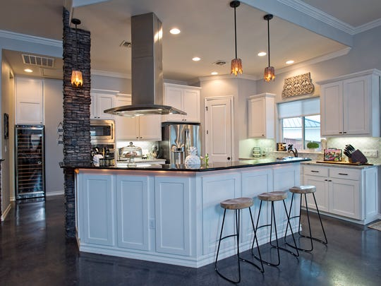 The kitchen, which is a part of the open living space,