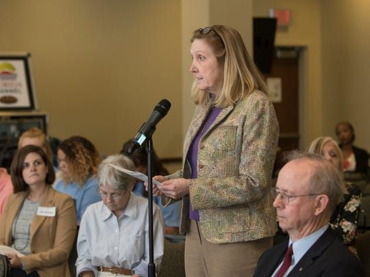 Judge Linda L Nobles speaks during the Constitution Revision Commission's public hearing on proposals under active consideration held at the University of West Florida in Pensacola on Tuesday, February 27, 2018.