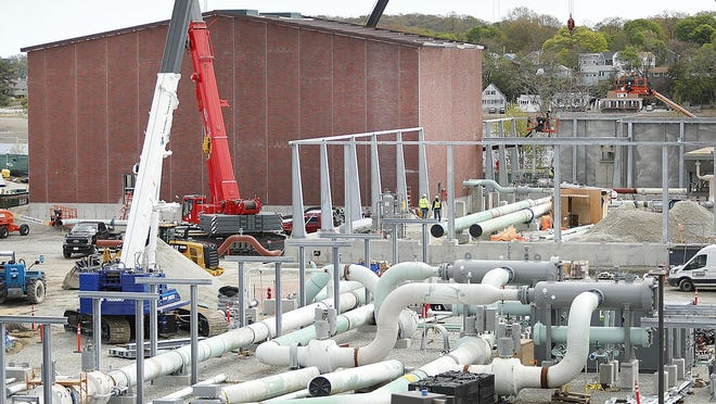 The North Weymouth gas compressor station construction along the Fore River on Tuesday May 12, 2020 Greg Derr/The Patriot Ledger