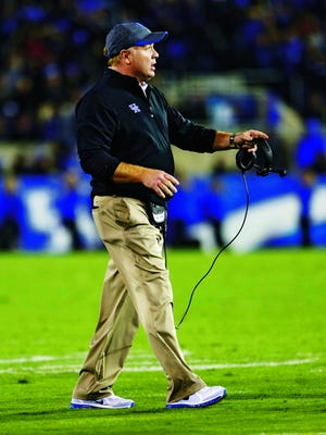 Oct 4, 2014; Lexington, KY, USA; Kentucky Wildcats head coach Mark Stoops during the game against the South Carolina Gamecocks in the second half at Commonwealth Stadium. Kentucky defeated South Carolina 45-38. Mandatory Credit: Mark Zerof-USA TODAY Sports