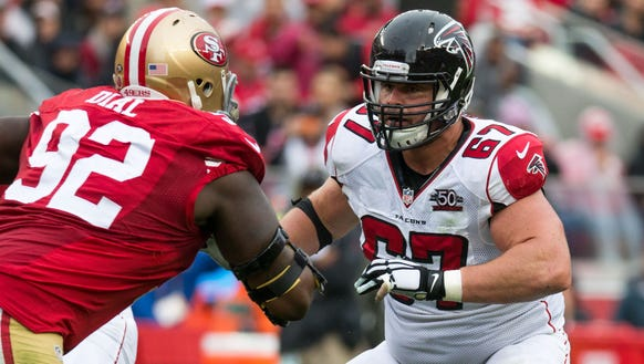 Atlanta Falcons guard Andy Levitre, right, played for