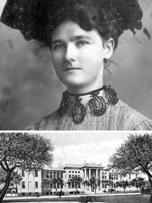Mary Carroll, shown when she was 21, began teaching Spanish to grammar and high school students when she was 18, in 1901. She later became school superintendent. Corpus Christi High School, built on Carancahua Street in 1911, was generally known as the Brick Palace.