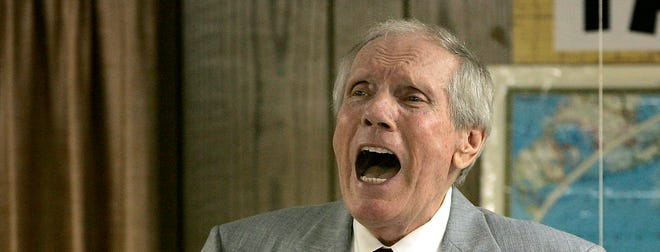 Fred Phelps preaches at his Westboro Baptist Church on March 19, 2006, in Topeka.