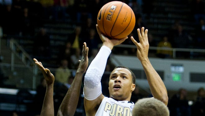 Purdue's Bryson Scott goes ups for two against Wayne State Monday, November 4, 2103 at Mackey Arena in West Lafayette. Purdue won 91-58.