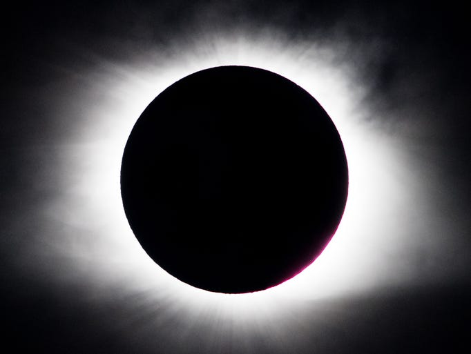 The solar eclipse as seen from Nashville, Tenn., Monday,