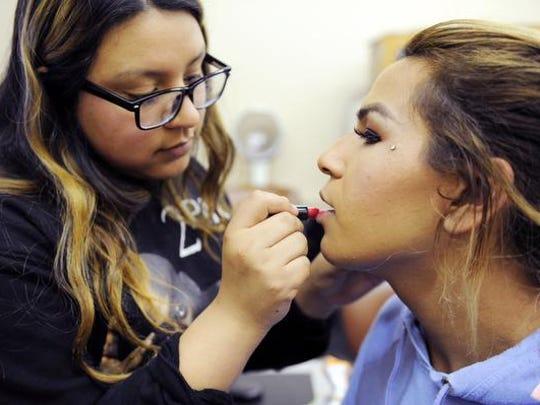 Jessica Ruiz practices her cosmetology skills on Angie