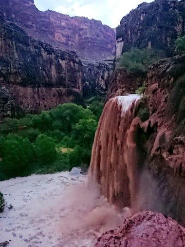 Flooding from a waterfall on the Havasupai reservation