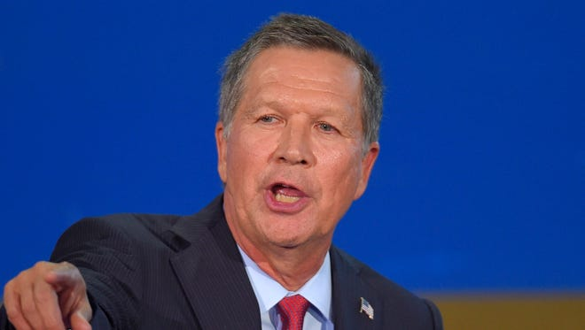 Republican presidential candidate, Ohio Gov. John Kasich speaks during the CNN Republican presidential debate at the Ronald Reagan Presidential Library and Museum on Wednesday, Sept. 16 in Simi Valley, Calif.