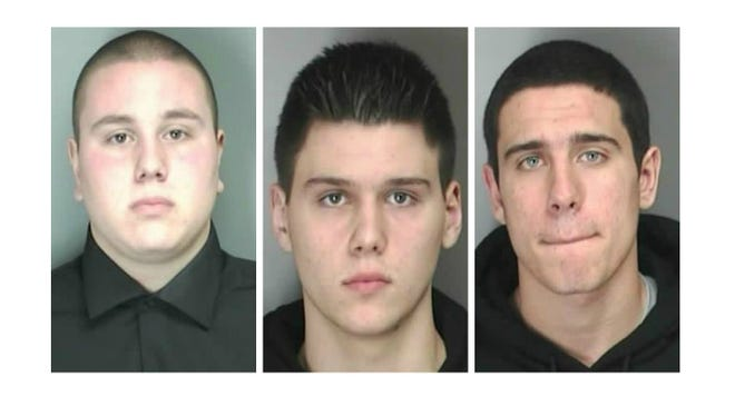 From left, Nicholas Kelly, Gregory Kwapik and Ryan Modaffare are facing charges in the alleged sex act involving a 15-year-old girl.
