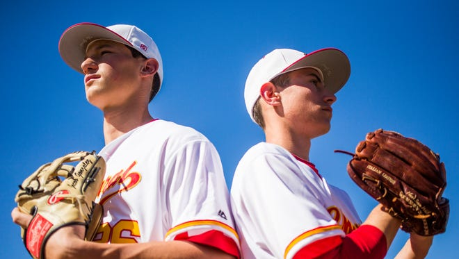 Third baseman Jacob Gonzalez (left) and pitcher Casey Candiotti are set to lead Scottsdale Chaparral this season.