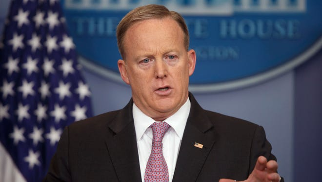 White House press secretary Sean Spicer speaks during the daily press briefing at the White House in Washington, Thursday, April 13, 2017.