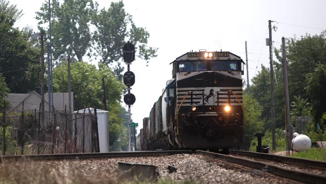 A train heads toward the Willard Street crossing in Muncie in this file photo from 2011.