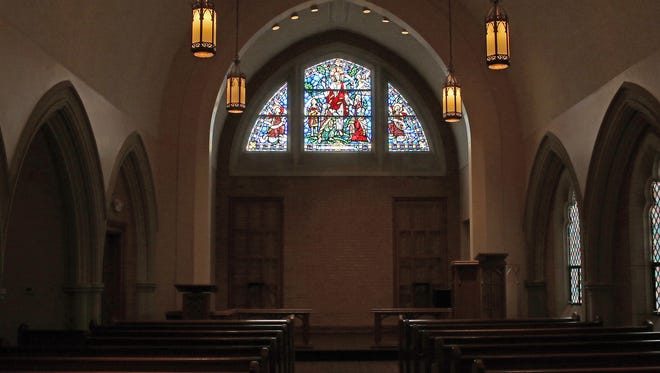 Inside Burns Chapel at Midwestern State University.