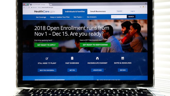In this Oct. 18, 2017, photo, the Healthcare.gov website is seen on a computer screen in Washington.