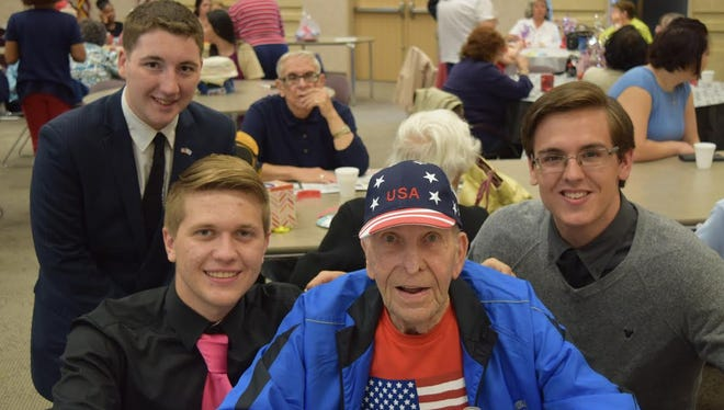 """(From left) Ernie Phillips, Jimmy Kelly, George Engelke and Quenton Torres were at the Franklin Township Community Center for an introduction to Delsea Regional High School's """"Senior to Senior"""" project."""