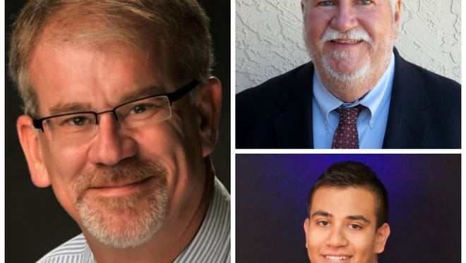 The Tempe Elementary School District governing board candidates, from far left clockwise: Harvey Gibson, Jim Lemmon, and Patrick Morales.